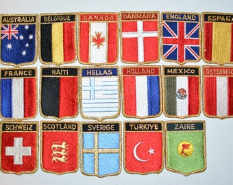 World Travel Patches Vintage Embroidered Patch Gold Threading Sew-on Vacation Holiday Country Souvenir Jacket Patch Backpack Patch Vest f1