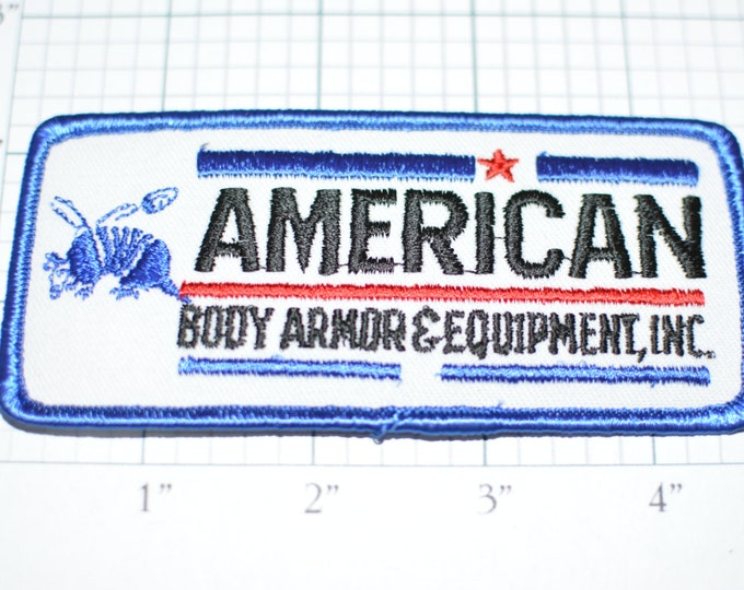 American Body Armor & Equipment Inc. Shell Bouncing off Armadillo RARE Iron-On Vintage Patch Military Police Security Protective Vest e9g