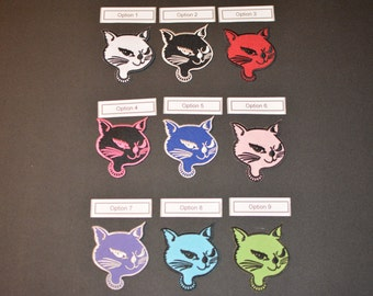 Winking Kitty Patch, Iron-on Vintage Patch, Kitty Applique, Cat Iron-on Patch, Cute Fun Boho Pink Black Red White Green Blue Purple Patch e5