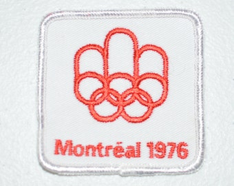 Montreal 1976 White Sew-On Vintage Embroidered Souvenir Clothing Patch Summer Olympic Games XXI Olympiad Collectible Emblem Quebec Canada