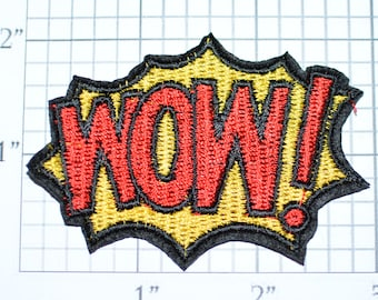 WOW! Iron-on Patch Embroidered Applique Jacket Patch Jeans Patch Vest Patch Hat Patch Backpack Patch Blanket Patch Excited Shocking e23i