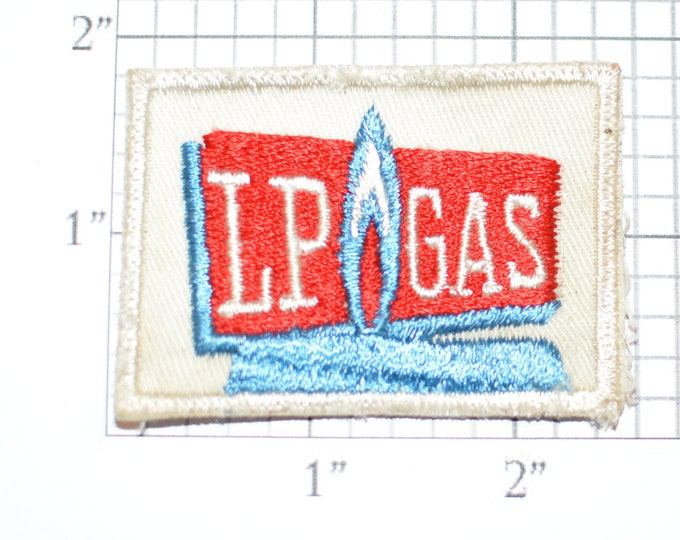 LP Gas (Liquid Propane) Authentic Vintage Embroidered Sew-On Clothing Patch (Dirty/Dingy) for Shirt Uniform Jacket Vest Energy Producer Logo