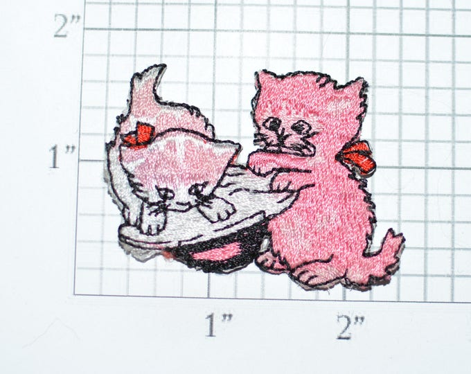 Pink Playing Kittens Iron-on Vintage Applique Cute and Adorable Embroidered Clothing Patch for Jeans Bag Backpack Shirt Jacket Hat Kids e29m