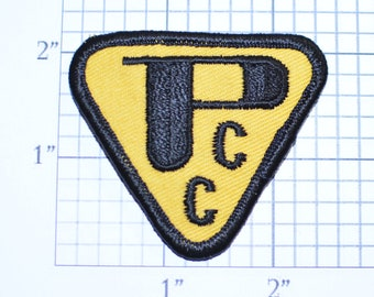 PCC Triangle Yield Yellow Iron-on Embroidered Vintage Clothing Patch Fun Road Sign Caution Danger Beware Stop Slow Look Out Traffic Driver