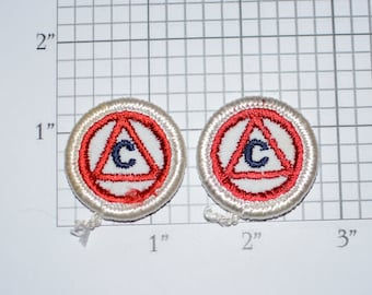 Letter C Inside Red Triangle, Lot of 2 Iron-on Vintage Appliqué Patches for Uniform Jacket Vest Shirt Costume DIY Clothing Monogram Initial