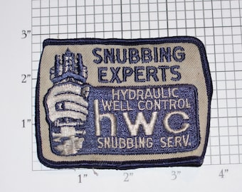 Snubbing Experts Hydraulic Well Control HWC Sew-On Vintage Embroidered Clothing Patch for Employee Uniform Shirt Jacket Emblem Workshirt