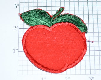 Red Apple Sew-on Patch Appliqué Cute Fun Fruit Patch Jacket Patch Jeans Patch Backpack Patch Orchard Shirt Patch Clothing Patch e19z