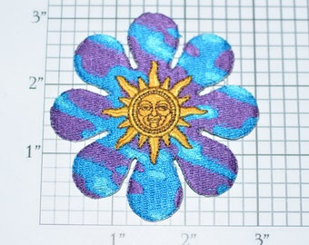 Sun Inside Colorful Flower Iron-On Vintage Embroidered Patch Jean Jacket Shirt Sewing Craft Project Boho Bohemian Hippie Fashion 1970s Retro