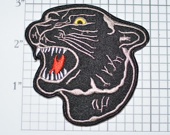 Growling Black Panther, Intimidating Iron-On Embroidered Clothing Patch Biker Jacket Vest Predator Nature Tiger Leopard Jaguar Big Cat MC
