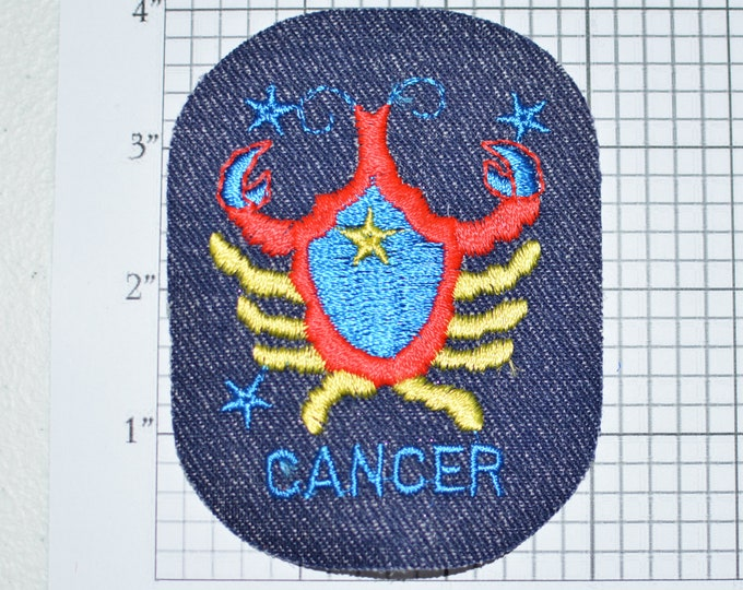 Cancer Zodiac Astrology Vintage Iron-on Clothing Patch Embroidered Patch Jacket Patch Jeans Patch Backpack Patch Hat Patch Applique e21j