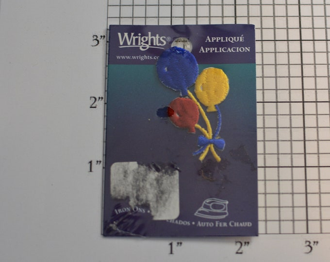 Three Balloons Wright's Iron-On Vintage Embroidered Clothing Patch (Still in Original Package) Fun Accessory for Jacket Shirt Backpack Party