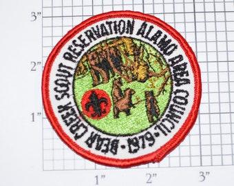 Bear Creek Scout Reservation Alamo Area Council 1979 BSA Sew-On Vintage Embroidered Patch Uniform Shirt Vest Jacket Boy Scouts Emblem Logo