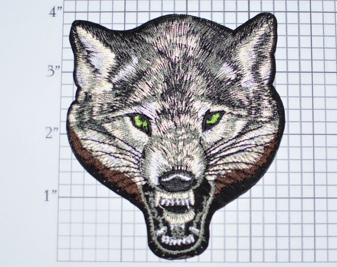 Lone Wolf Iron-On Embroidered Patch for Shirt Jacket Vest Outlaw 1%er Biker Motorcycle Dangerous Intimidating Predator Vicious Nature Animal