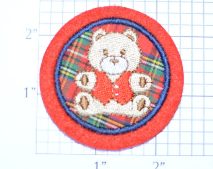 Cute Plaid Teddy Bear Sew-On Applique Vintage Embroidered Patch Backpack Patch Jeans Patch Shirt Patch Clothing Patch Emblem Hat Patch e15h