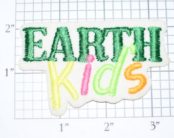 EARTH Kids Sew-On Rare Vintage Patch Ecology Environmentalism Conservationist Jacket Patch Hat Patch Vest Patch Shirt Patch Children e24p