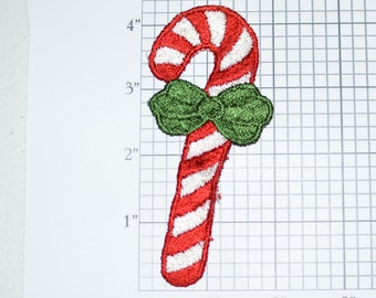 Candy Cane Sew-on Vintage Embroidered Clothing Patch Decorative Christmas Holidays Cheer Festive Joyous Spirit DIY Craft Idea Sewing Emblem