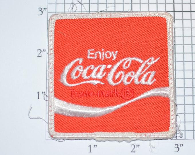 "Enjoy Coca Cola Authentic Vintage Embroidered Clothing Patch 3"" Square Coke Soft Drink Uniform Jacket Shirt Delivery Driver Distributor Logo"