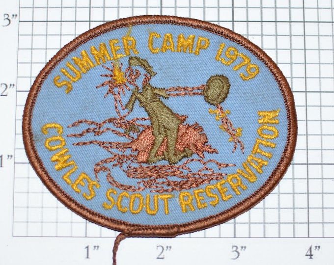 Summer Camp 1979 Cowles Scout Reservation BSA Sew-On Vintage Embroidered Clothing Patch Uniform Shirt Jacket Badge Keepsake Memorabilia