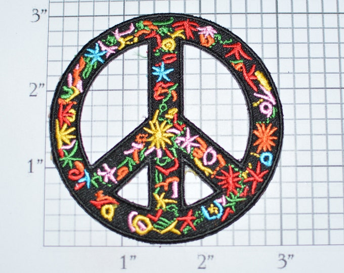 Peace Sign Iron-On Embroidered Clothing Patch Applique for Jacket Vest Jeans Hat Backpack Hippie Boho DIY Fashion Retro Flower Child vb1f