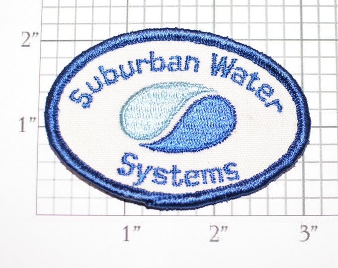Suburban Water Systems Co Sew-On Vintage Embroidered Clothing Patch for Employee Uniform Shirt Jacket Emblem Logo Workshirt Insignia Emblem