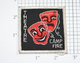 Theatre Camp Fire Logo Emblem Iron-On Vintage Embroidered Clothing Patch Uniform Shirt Jacket Keepsake Memorabilia Actor Acting Masks Drama