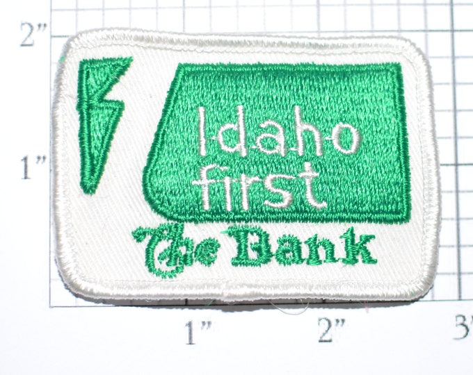 Idaho First The Bank RARE Sew-On Vintage Clothing Patch Uniform Shirt Jacket Hat Emblem Logo Insignia Boise Financial Banking Fiscal e31f