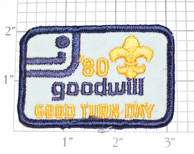 Goodwill 1980 Good Turn Day Sew-On Vintage Embroidered Clothing Patch for Jacket Vest Shirt Backpack BSA Boy Scouts Collectible Keepsake