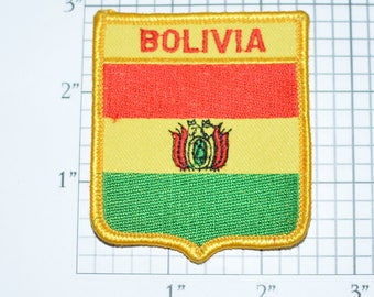 Bolivia Iron-On Vintage Embroidered Travel Patch Emblem Badge Shield Tourist Trip Souvenir Gift Idea Collectible Vacation Holiday e25a