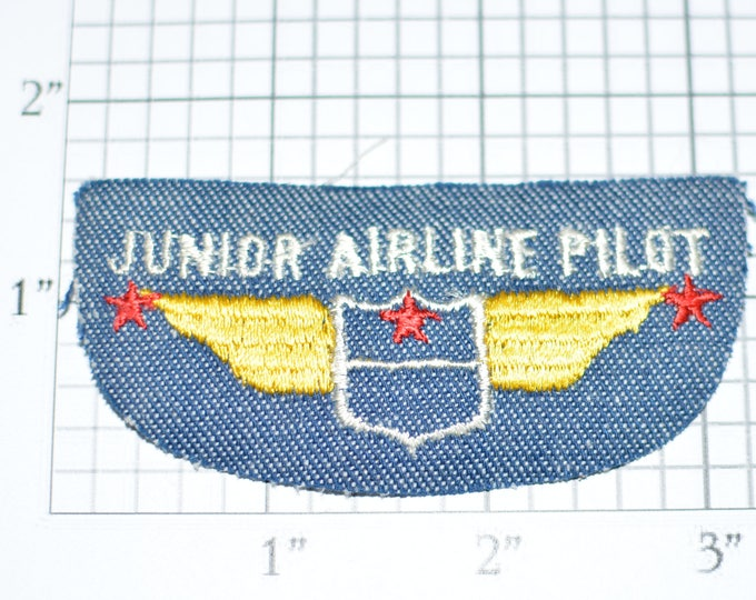 Junior Airline Pilot Wings Iron-on Patch Embroidered Patch Vintage Patch Sewing Applique Shirt Patch Jacket Patch Kids Clothing Patch e19f