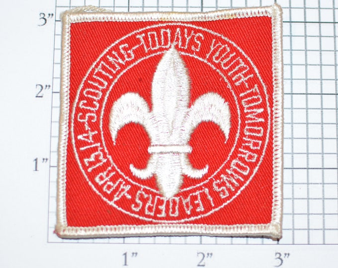 Scouting Todays Youth Tomorrows Leaders BSA Sew-On Vintage Embroidered Clothing Patch Scout Uniform Jacket Keepsake Memorabilia Badge Emblem