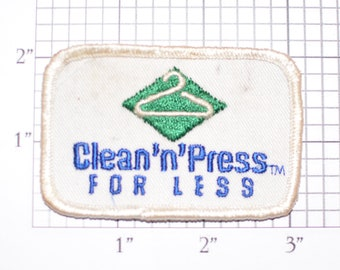 Clean'n'Press For Less (Dirty and/or Distressed) Vintage Sew-on Embroidered Clothing Patch for Uniform Shirt Vest Logo Dry Cleaner Laundry
