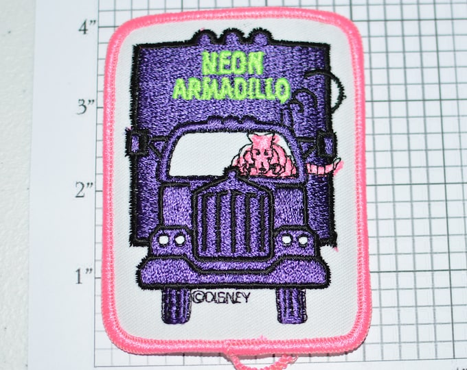 NEON ARMADILLO Authentic Vintage Walt Disney World Pleasure Island Iron-on Patch Jacket Patch Vest Patch Embroidered Patch Shirt Patch e21L
