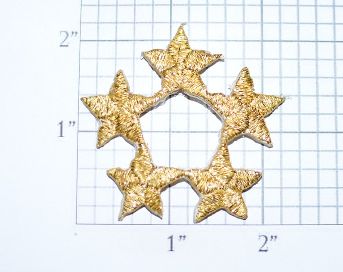 Metallic Threading Gold Star Iron-On Vintage Embroidered Clothing Patch Applique DIY Clothes Craft Sewing Project Award Recognition e32J