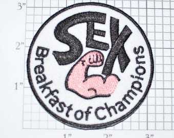 Sex Breakfast of Champions Iron-On Embroidered Clothing Patch Biker Vest Jacket Novelty Emblem Naughty Racy Funny Flirty Sexy Jeans Backpack