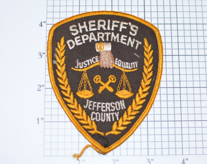 Sheriff's Department Jefferson County Sew-On Vintage Embroidered Patch Uniform Shoulder Jacket Vest Shirt Guard Costume Cosplay Collectible