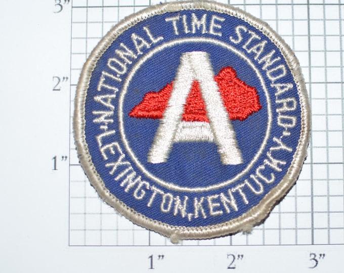 National Time Standard Lexington Kentucky Ultra RARE Sew-On Vintage Embroidered Clothing Patch Souvenir Collectible Unique Gift Idea e24p