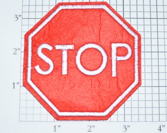 Stop Sign Iron-On Patch Traffic Intersection Jacket Vest Patch Embroidered Clothing Patch Backpack Patch Fun DIY Accessory Jeans Patch e23j