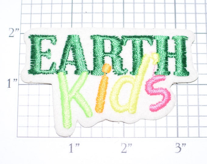 EARTH Kids Sew-On Rare Vintage Patch Ecology Environmentalism Conservationist Jacket Patch Hat Patch Vest Patch Shirt Patch Children e19n
