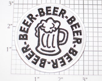 BEER Frosty Mug Emblem Iron-on Clothing Patch Drinking Bachelor Party Gift Idea Bachelorette Stag Hen Pub Crawl Inebriated Bar Man Cave Suds