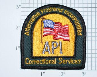 Alternative Programs Incorporated API Correctional Services Iron-On Vintage Embroidered Uniform Shoulder Patch for Jacket Vest Shirt e30i