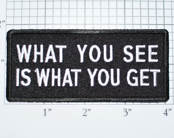 What You See Is What You Get Iron-On Embroidered Patch Fun Flirty Jacket Jeans Patch Vest Clothing Acceptance Respect Straight Forward t02b
