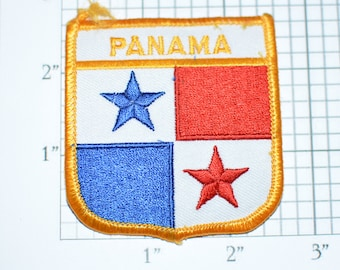 Panama Flag Shield Iron-On Vintage Embroidered Travel Patch Emblem Badge, Trip Souvenir Gift Idea Collectible Vacation e25J