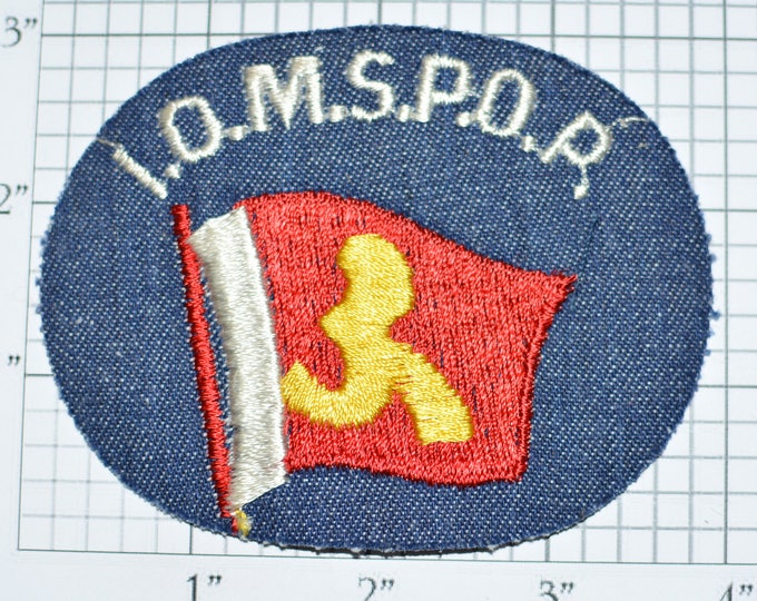 I.O.M.S.P.O.R. Isle of Man Sports Vintage Embroidered Denim Clothing Patch Emblem Souvenir Shirt Jersey Sports Collectible Memorabilia e28m