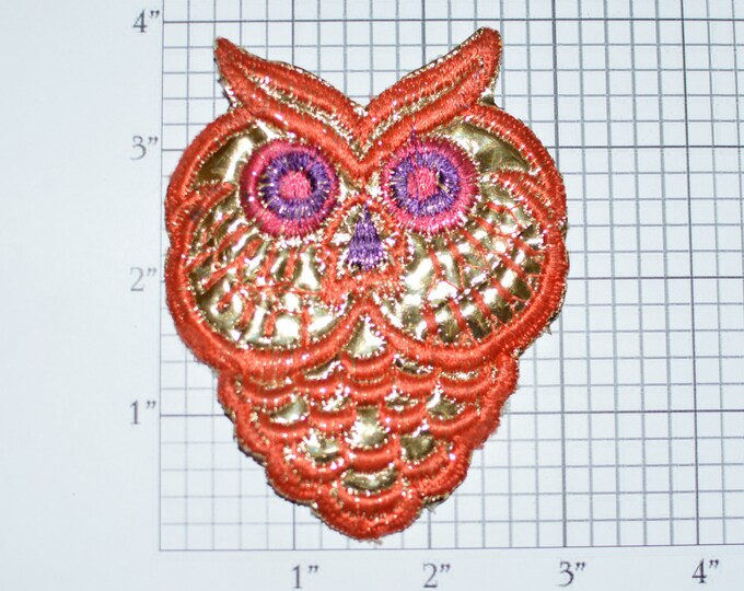 Owl Reflective Shiny Sew-On Vintage Embroidered Patch Backpack Patch Shirt Patch Clothing Patch Nature Jacket Patch Vest Patch Cute Fun e24i