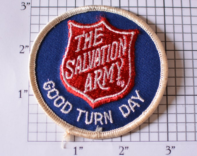 The Salvation Army Good Turn Day Iron-On Vintage Embroidered Clothing Patch for Jacket Vest Hat Shirt Backpack Christian Charities