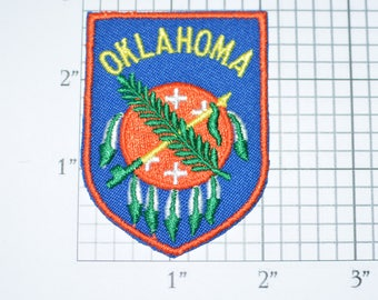 Oklahoma OK Native American Iron-On Vintage Embroidered Travel Patch Emblem Badge, Trip Souvenir Gift Idea Collectible Vacation e24f