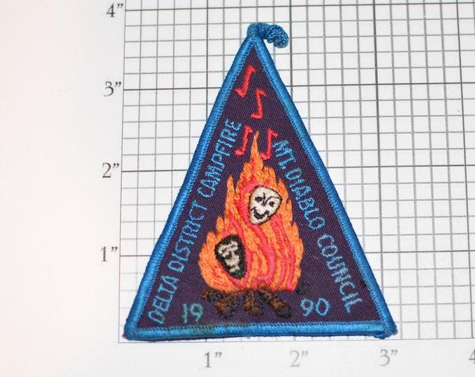 Mt Diablo Council Delta District Camporee 1990 BSA Iron-On Vintage Embroidered Patch Uniform Vest Jacket Scouting Badge Emblem California