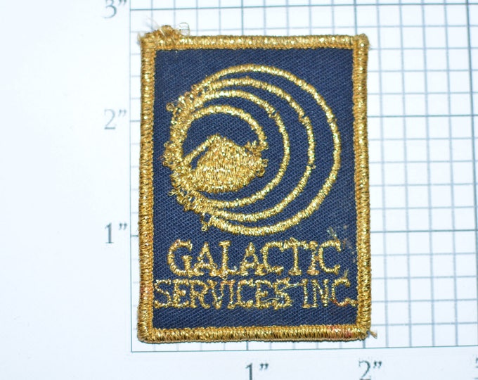 Galactic Services Inc. Metallic Gold Threading (Some Damage) Vintage Embroidered Clothing Patch Emblem for Jacket Shirt Vest Hat Space e28j