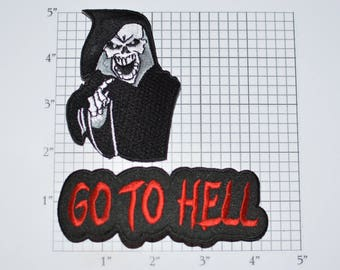 Grim Reaper / Go to Hell 2-Part Iron-On Embroidered Clothing Patch Lot Outlaw Biker 1%er for Jacket Vest Shirt Intimidating Motorcycle e32h
