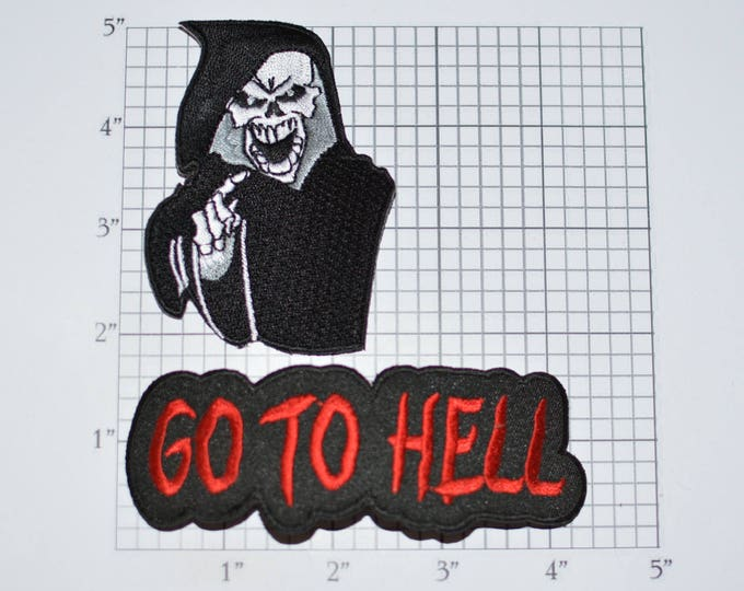 Grim Reaper / Go to Hell 2-Part Iron-On Embroidered Clothing Patch Lot Outlaw Biker 1%er for Jacket Vest Shirt Intimidating Motorcycle